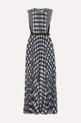 Self-Portrait Belted Jersey-paneled Ruffled Gingham Georgette Maxi Dress - Black