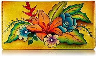 Anuschka Anna by Women's Leather Hand Painted Clutch Wallet | Animal Butterfly Grey