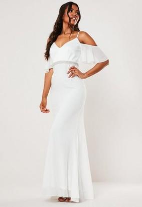 Missguided Bridesmaid White Chiffon Diamante Bardot Maxi Dress