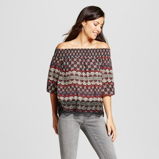 Knox Rose Women's Printed Off the Shoulder Lace Trim Top $27.99 thestylecure.com
