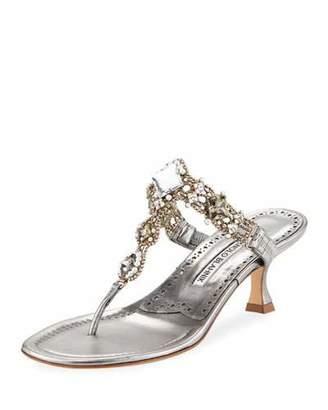 Manolo Blahnik Immro 50mm Jeweled Thong Sandal