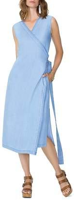 NYDJ Sleeveless Chambray Wrap Dress