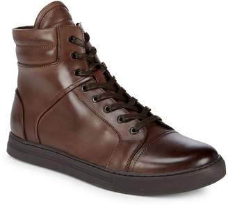Kenneth Cole Men's Round Toe Leather Ankle Boots