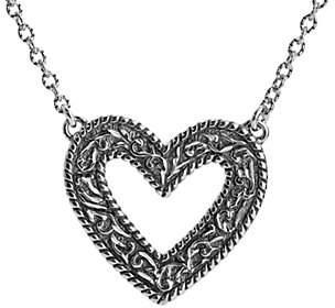 American West Sterling Diamond-Cut Scroll Heart Necklace