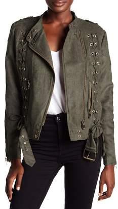 Vigoss Lace-Up Faux Suede Jacket