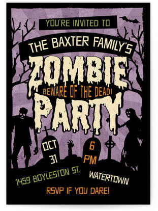 Retro Zombie Holiday Party Invitations