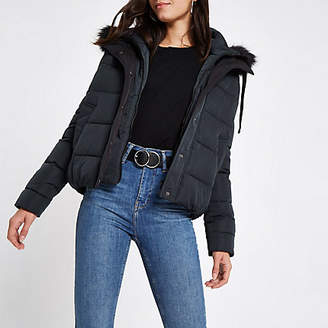 River Island Navy padded faux fur hood puffer jacket