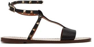 Valentino Rockstud Ankle Strap Grained Leather Sandals - Womens - Black