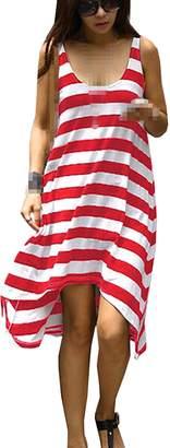 Qinol Lady Stripe Holiday Beach Cover up Slip Dress Sundress Mini Skirt