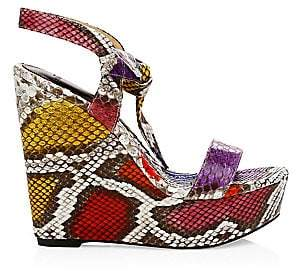Alexandre Birman Women's Noelle Python Leather Platform Wedges