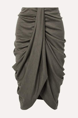 Isabel Marant Datisca Asymmetric Ruched Wool-jersey Skirt - Army green
