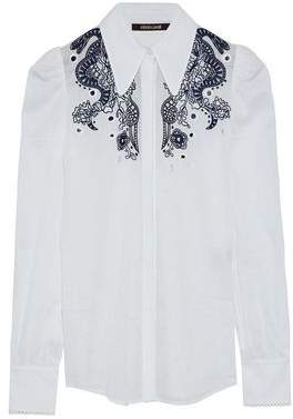 Roberto Cavalli Embellished Cotton-Gauze Shirt