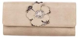 Carlos Falchi Fatto a Mano by Floral-Embellished Leather Clutch