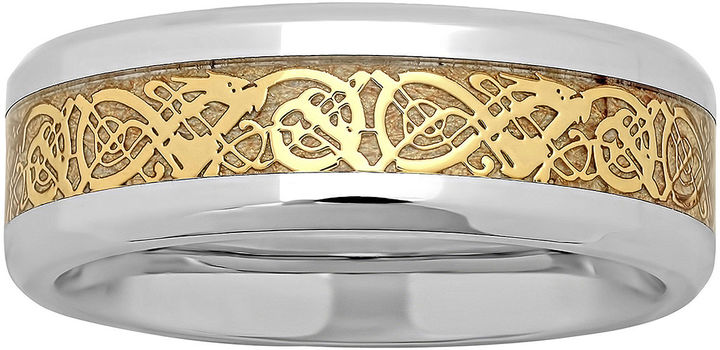 Celtic SheepskinMODERN BRIDE Personalized Mens Celtic Dragon Two-Tone Stainless Steel Wedding Band