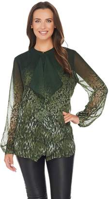Dennis Basso Ruffle Front Animal Lace Print Blouse