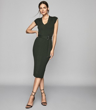 Reiss AMELIE KNITTED BODYCON DRESS Green