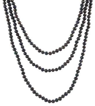 Splendid Pearls 6-7mm Natural Onyx Freshwater Pearl Endless Necklace