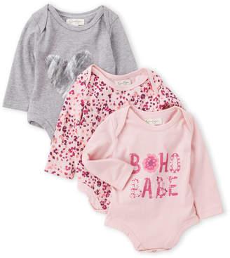 Jessica Simpson Newborn/Infant Girls) 3-Pack Printed Long Sleeve Bodysuits