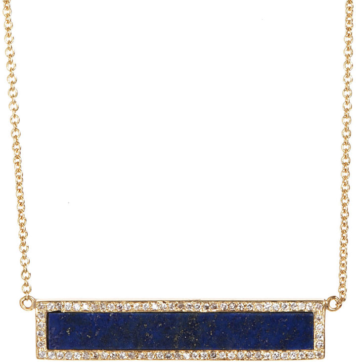 Jennifer Meyer Lapis & Diamond Bar Pendant Necklace