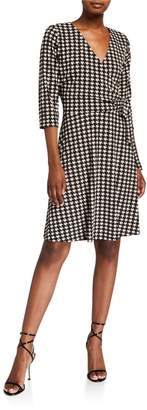 Chetta B 3/4-Sleeve Tie Wrap Houndstooth Dress