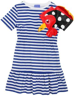 Stella Jean Rooster Striped Cotton Jersey Dress