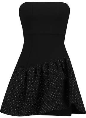 Maje Strapless Stud-Embellished Pleated Crepe Mini Dress