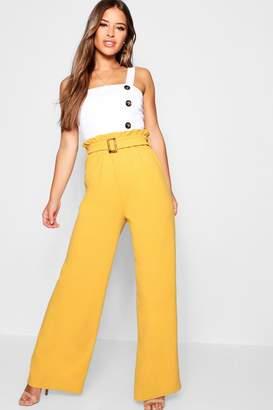 boohoo Petite Buckle Detail High Waisted Trouser