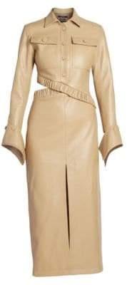Rokh Leather Gathered Waist Button Dress