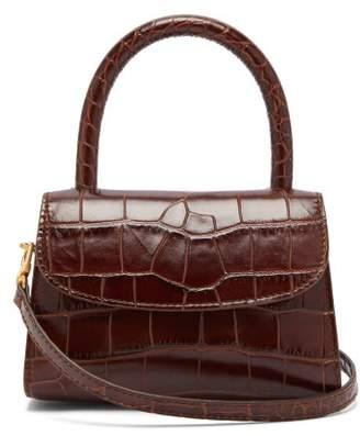 BY FAR Mini Crocodile Embossed Leather Handbag - Womens - Dark Brown
