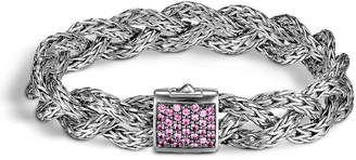 John Hardy Classic Chain Silver Lava Small Braided Bracelet with Pink Sapphire, Size M