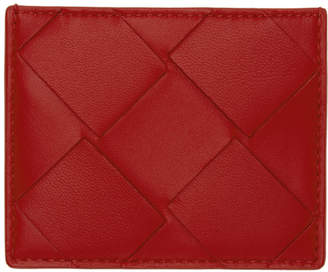 Bottega Veneta Red Macro Intrecciato Card Holder
