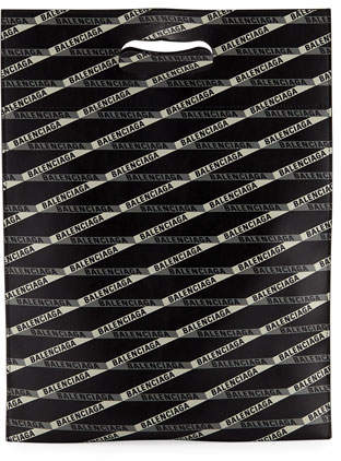 Balenciaga Men's Graphic Logo Leather Shopper Tote