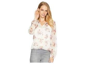 1 STATE 1.STATE Long Sleeve Wildflower V-Neck Blouse w/ Peplum