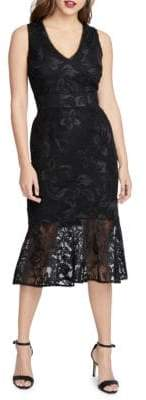 Rachel Roy Lara Embroidered Midi Lace Mermaid Dress