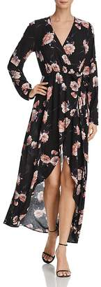 Cotton Candy Floral Print Maxi Wrap Dress