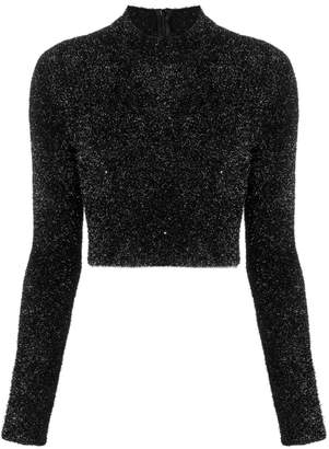 Versus faux fur cropped sweater