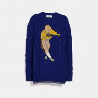 Coach Football Cable Knit Sweater