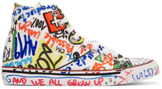 Vetements White Graffiti High-Top Sneakers