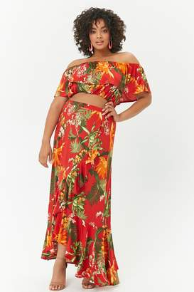 Forever 21 Plus Size Tropical Floral Crop Top & Maxi Skirt Set