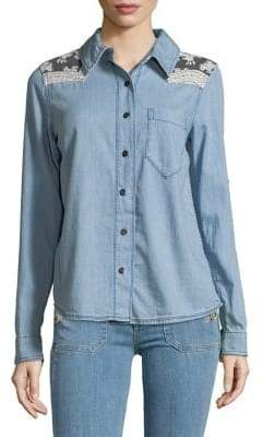 Free People Denim Look Button-Down Shirt
