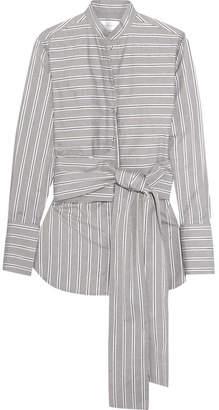 Victoria Beckham Victoria, Tie-front Striped Cotton-poplin Shirt - Gray