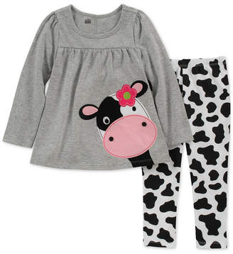 Kids Headquarters Baby Girls 2-Pc. Split-Back Cow Tunic & Leggings Set