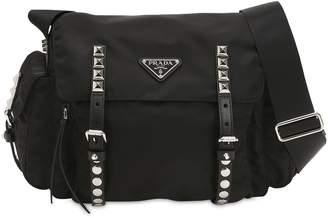 Prada Nylon Shoulder Bag W/ Studded Straps
