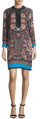 Etro Lily Floral-Print Split-Neck Shift Dress