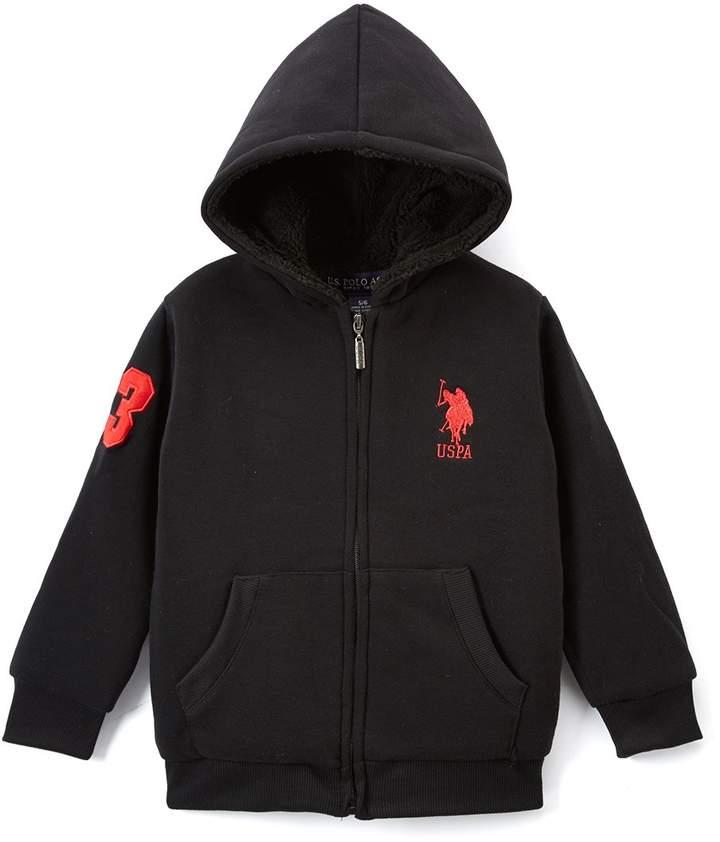 Black Sherpa-Lined Fleece Zip-Up Hoodie – Toddler