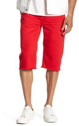 True Religion Cutoff Straight Flap Denim Shorts