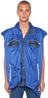 Y/Project Denim Vest W/ Oversized Nylon Cover