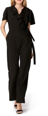 Tahari Ruffle Neck Crepe Jumpsuit