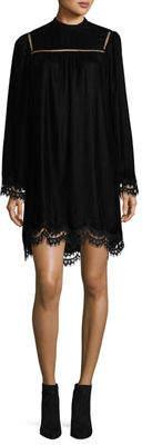 Max Studio High-Neck Velvet Dress with Lace Hem