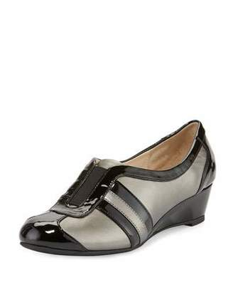 Taryn Rose Paislee Striped Wedge Sneaker, Pewter $210 thestylecure.com